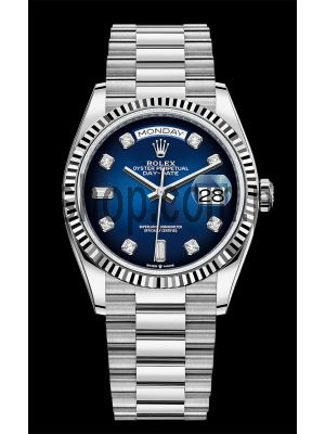 Rolex Day-Date  White Gold Blue Ombre Diamond Dial Swiss Watch