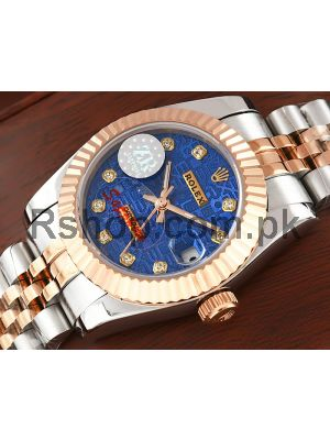 Rolex Lady Datejust Two Tone Blue Computer Dial Swiss Watch